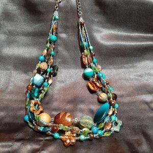3 strand mixed beads necklace